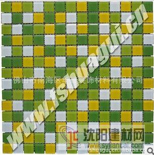 2公分綠黃白色水晶玻璃馬賽克浴室